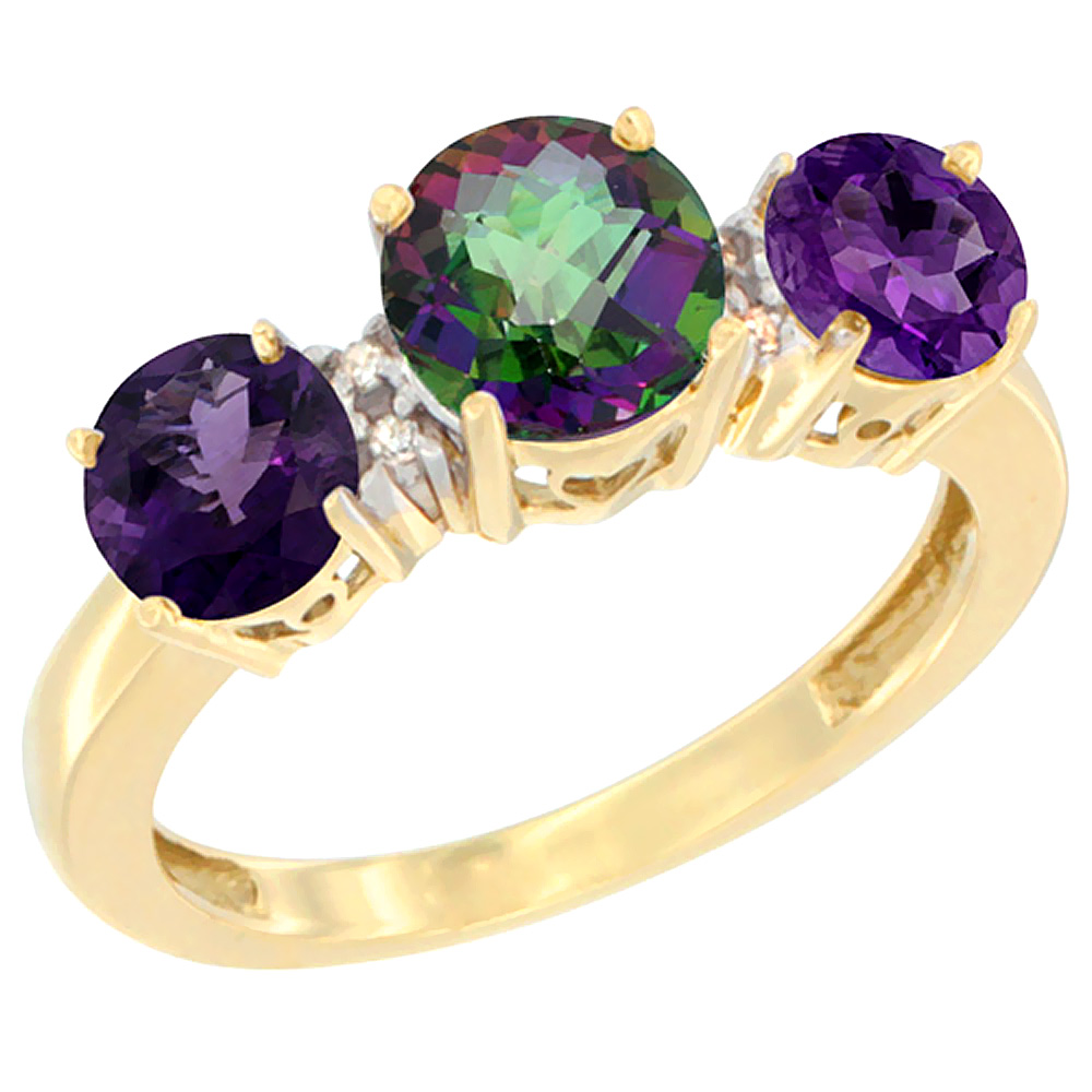 10K Yellow Gold Round 3-Stone Natural Mystic Topaz Ring & Amethyst Sides Diamond Accent, sizes 5 - 10
