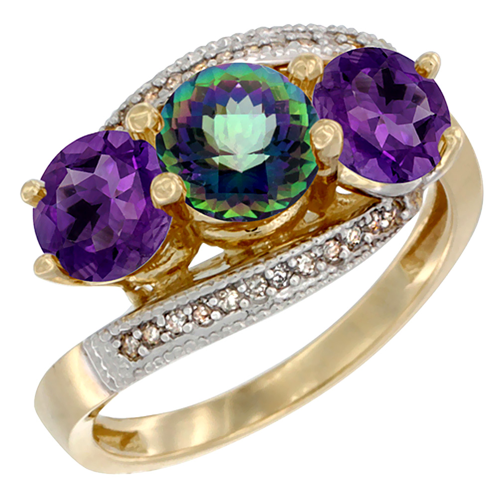 10K Yellow Gold Natural Mystic Topaz & Amethyst Sides 3 stone Ring Round 6mm Diamond Accent, sizes 5 - 10
