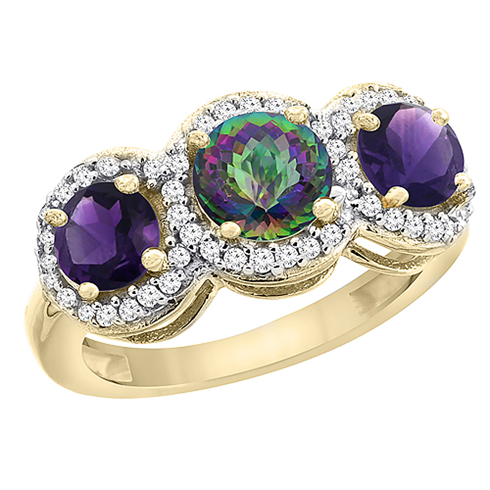 10K Yellow Gold Natural Mystic Topaz & Amethyst Sides Round 3-stone Ring Diamond Accents, sizes 5 - 10