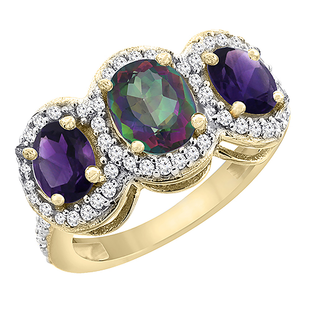 10K Yellow Gold Natural Mystic Topaz & Amethyst 3-Stone Ring Oval Diamond Accent, sizes 5 - 10