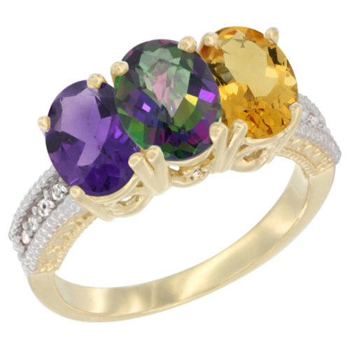 10K Yellow Gold Diamond Natural Amethyst, Mystic Topaz & Citrine Ring Oval 3-Stone 7x5 mm,sizes 5-10