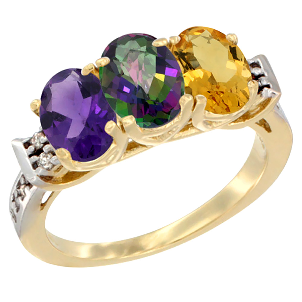 10K Yellow Gold Natural Amethyst, Mystic Topaz & Citrine Ring 3-Stone Oval 7x5 mm Diamond Accent, sizes 5 - 10