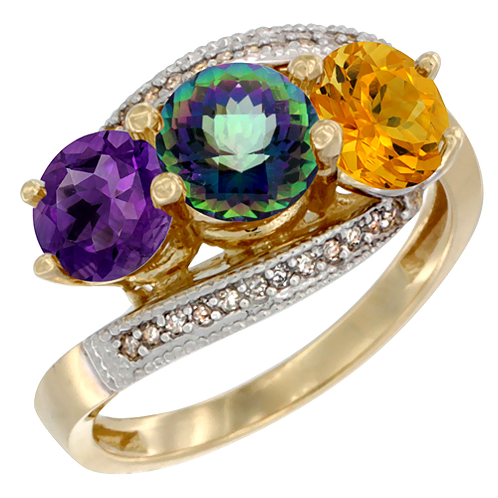 10K Yellow Gold Natural Amethyst, Mystic Topaz & Citrine 3 stone Ring Round 6mm Diamond Accent, sizes 5 - 10