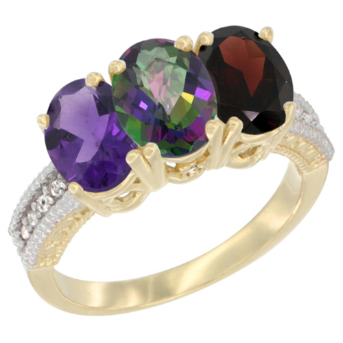 10K Yellow Gold Diamond Natural Amethyst, Mystic Topaz & Garnet Ring Oval 3-Stone 7x5 mm,sizes 5-10
