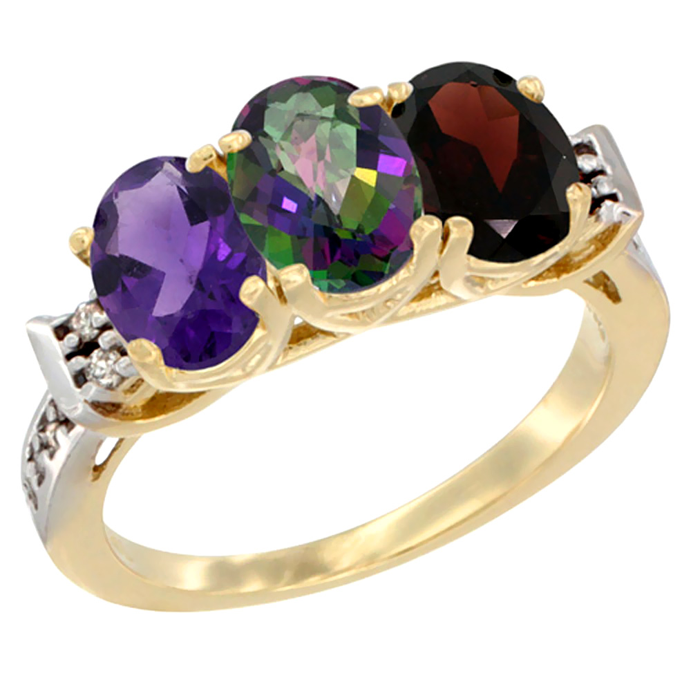 14K Yellow Gold Natural Amethyst, Mystic Topaz & Garnet Ring 3-Stone 7x5 mm Oval Diamond Accent, sizes 5 - 10