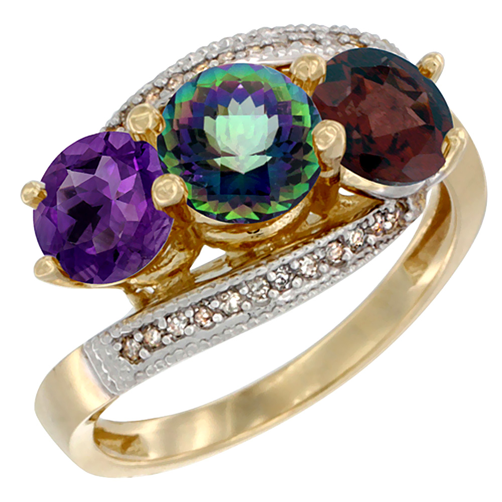 10K Yellow Gold Natural Amethyst, Mystic Topaz & Garnet 3 stone Ring Round 6mm Diamond Accent, sizes 5 - 10