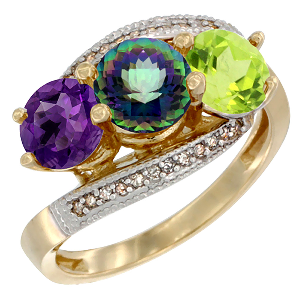 10K Yellow Gold Natural Amethyst, Mystic Topaz & Peridot 3 stone Ring Round 6mm Diamond Accent, sizes 5 - 10