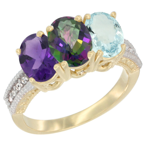 14K Yellow Gold Natural Amethyst, Mystic Topaz & Aquamarine Ring 3-Stone 7x5 mm Oval Diamond Accent, sizes 5 - 10