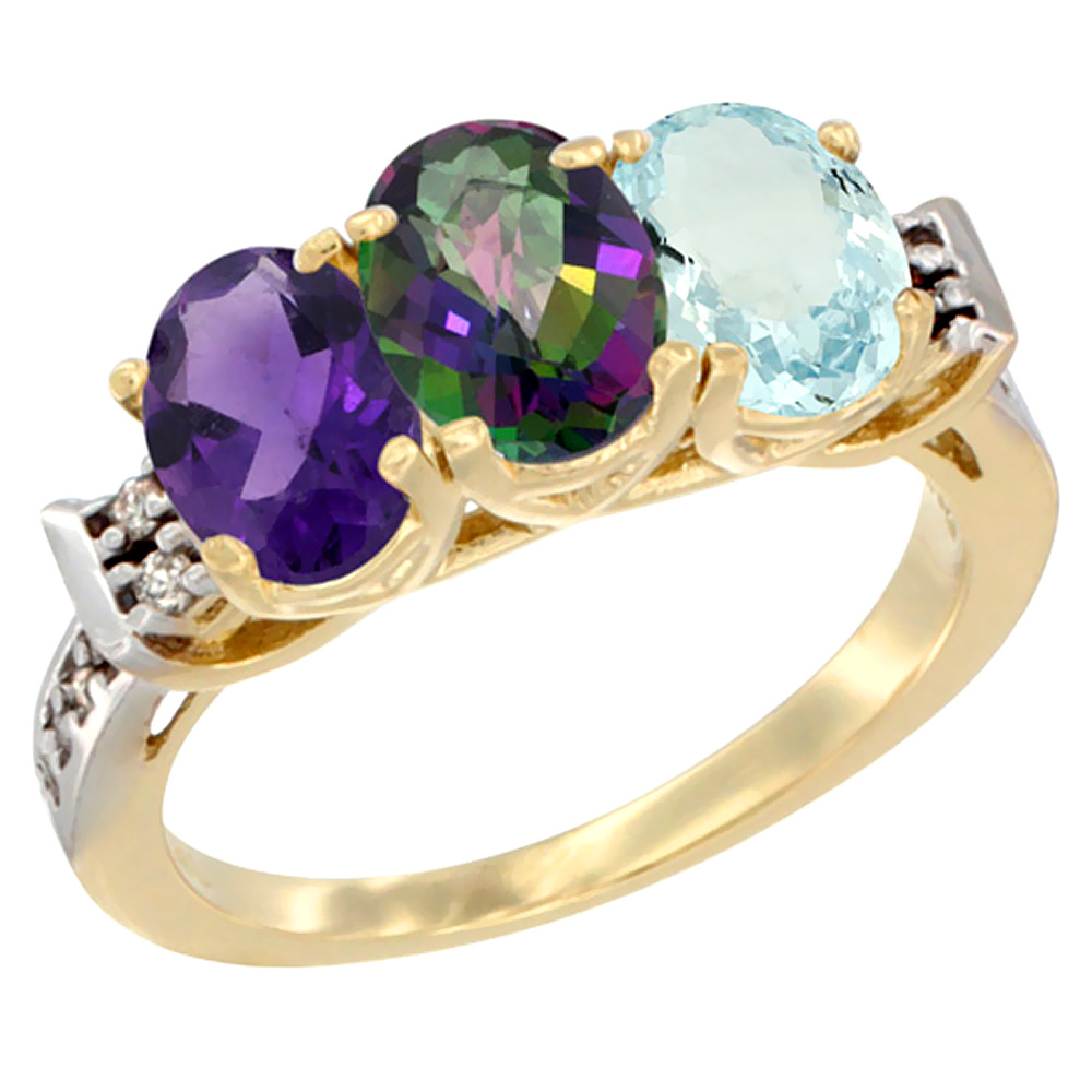10K Yellow Gold Natural Amethyst, Mystic Topaz & Aquamarine Ring 3-Stone Oval 7x5 mm Diamond Accent, sizes 5 - 10