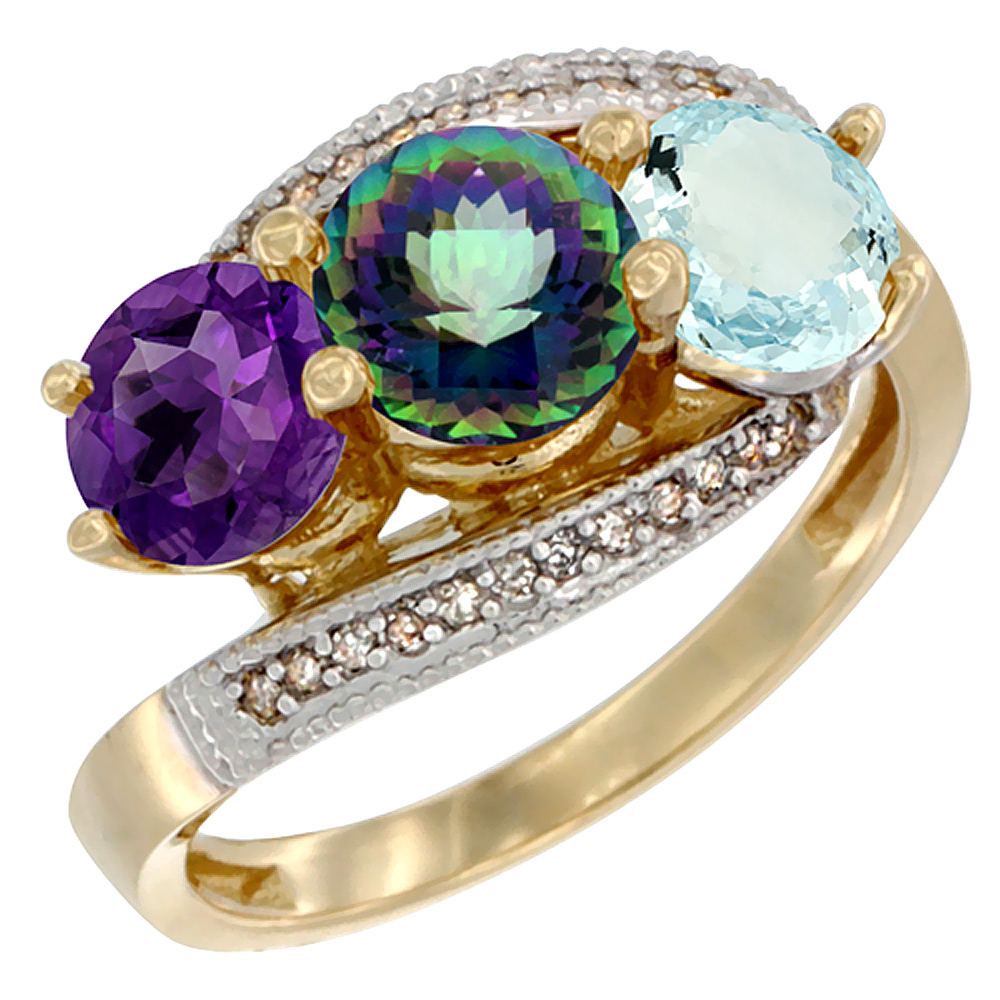 14K Yellow Gold Natural Amethyst, Mystic Topaz & Aquamarine 3 stone Ring Round 6mm Diamond Accent, sizes 5 - 10