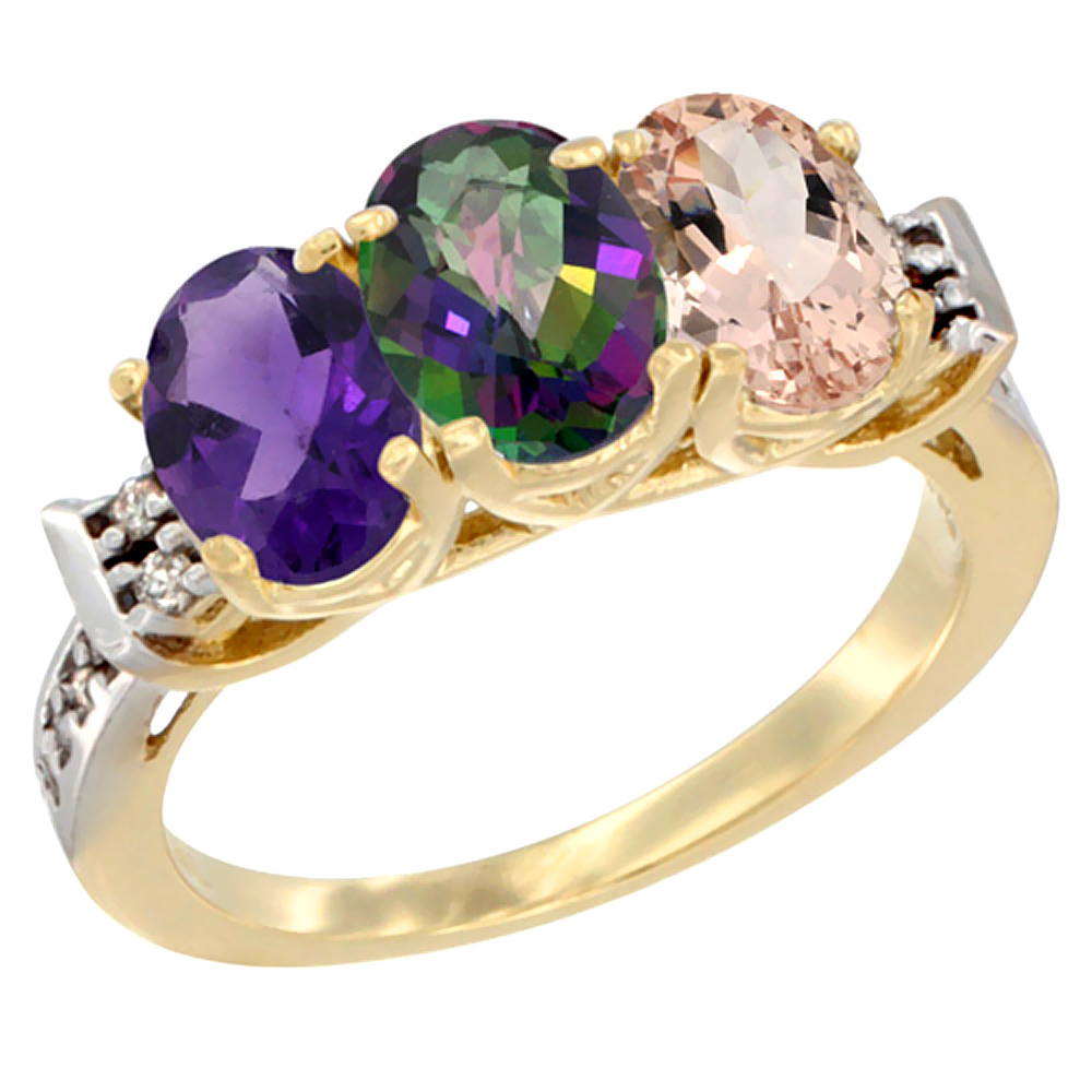 10K Yellow Gold Natural Amethyst, Mystic Topaz & Morganite Ring 3-Stone Oval 7x5 mm Diamond Accent, sizes 5 - 10