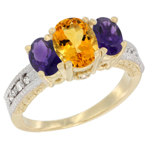 14K Yellow Gold Diamond Natural Citrine Ring Oval 3-stone with Amethyst, sizes 5 - 10