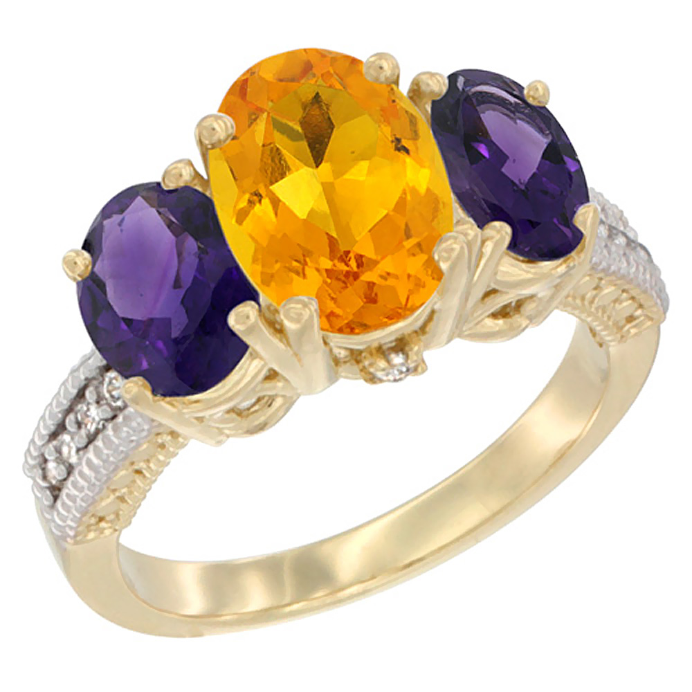 10K Yellow Gold Natural Citrine Ring Ladies 3-Stone 8x6 Oval with Amethyst Sides Diamond Accent, sizes 5 - 10