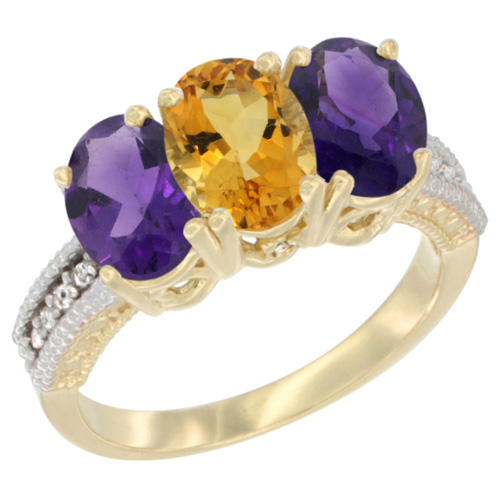 10K Yellow Gold Diamond Natural Citrine & Amethyst Ring Oval 3-Stone 7x5 mm,sizes 5-10