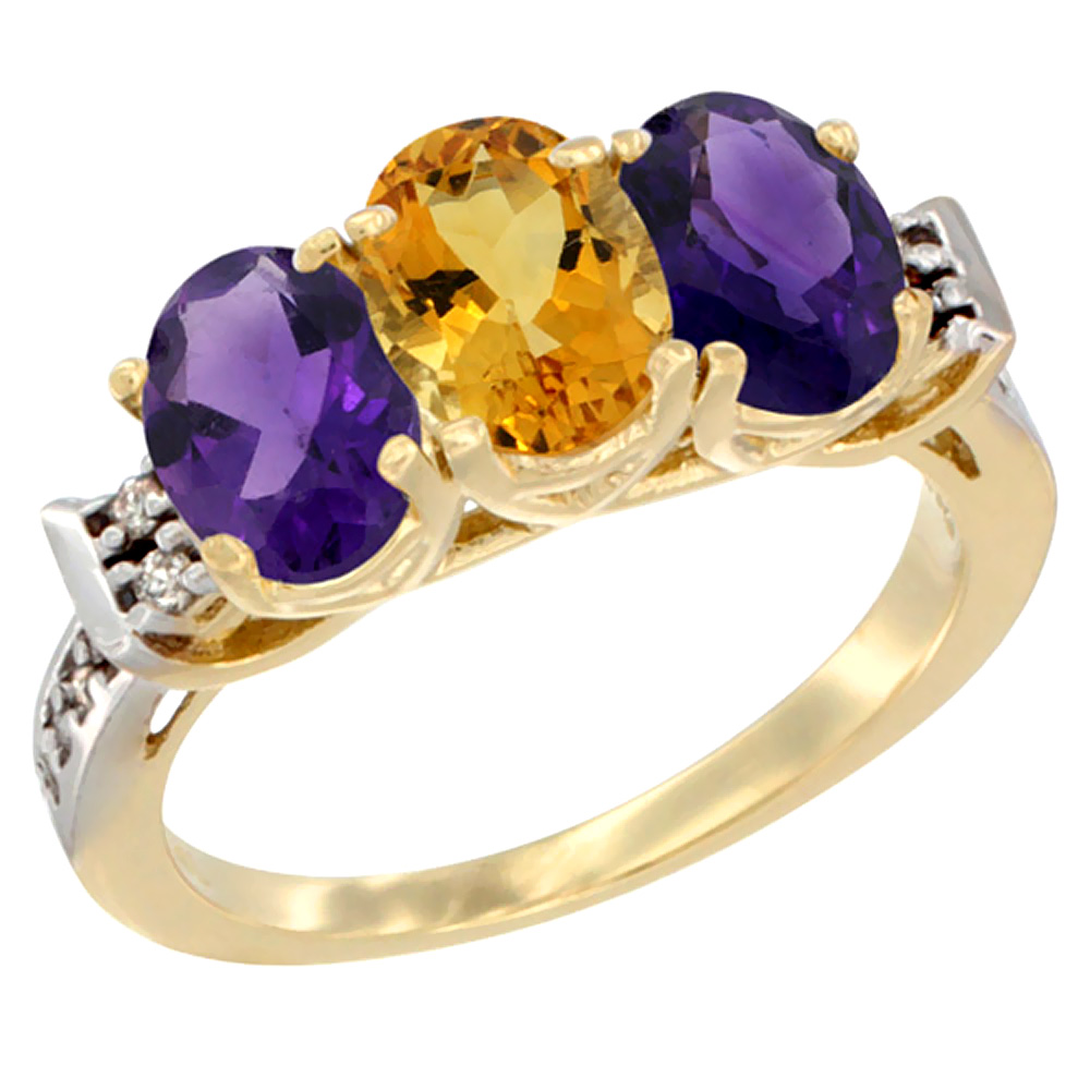 14K Yellow Gold Natural Citrine & Amethyst Sides Ring 3-Stone 7x5 mm Oval Diamond Accent, sizes 5 - 10