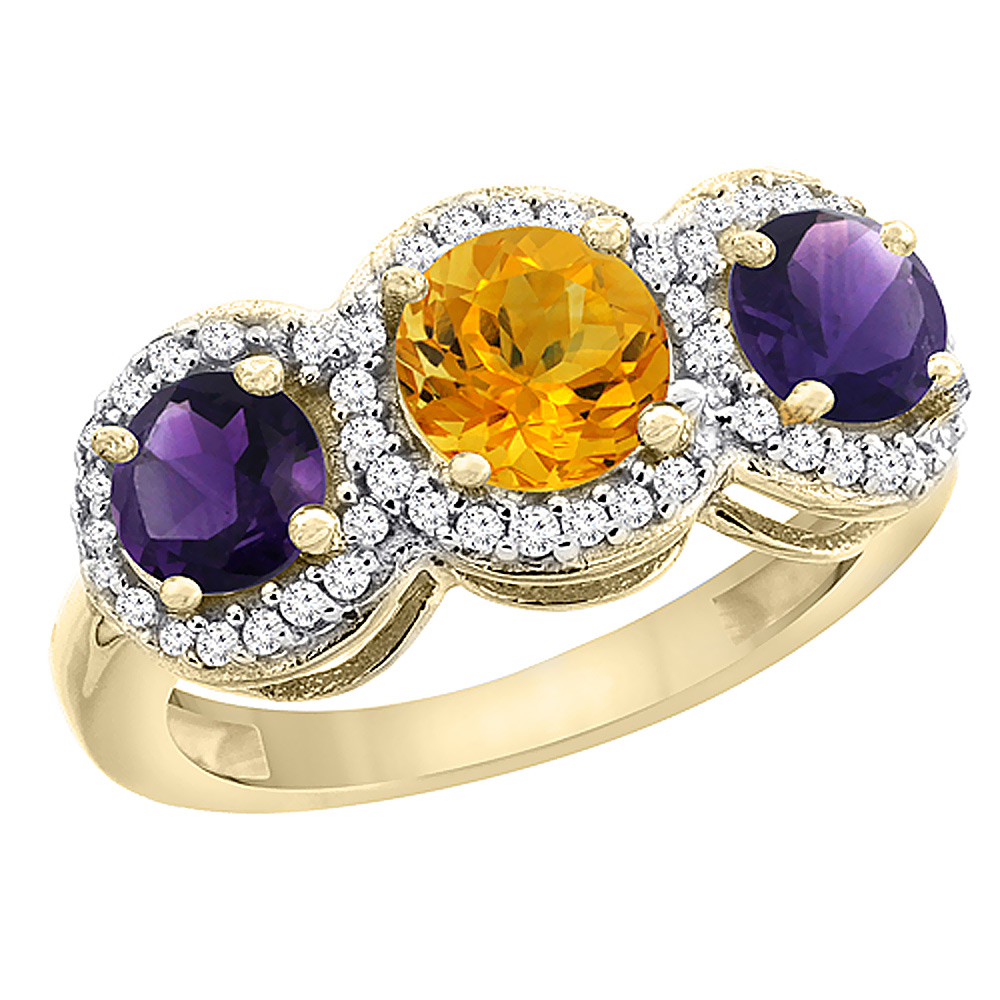 10K Yellow Gold Natural Citrine & Amethyst Sides Round 3-stone Ring Diamond Accents, sizes 5 - 10