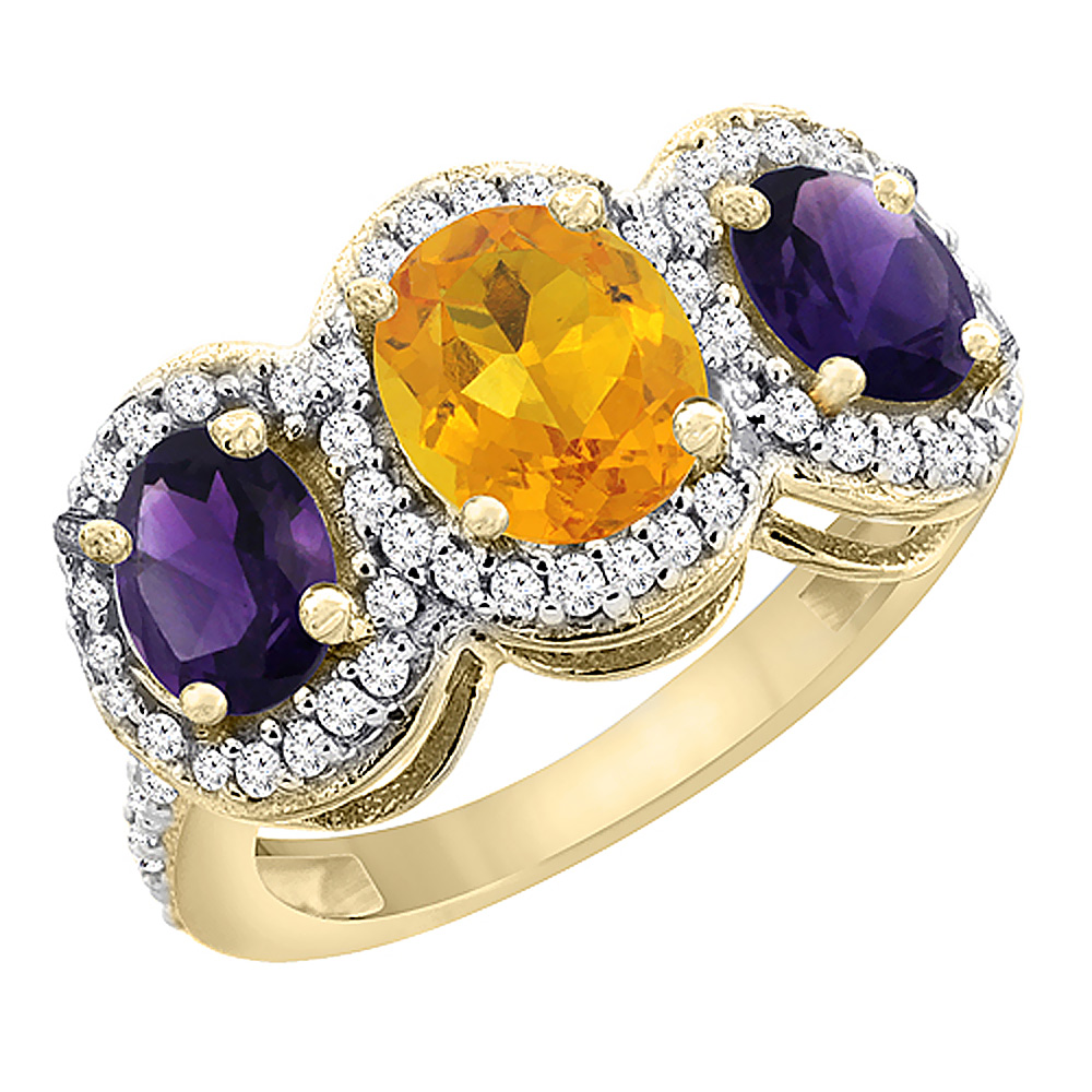 10K Yellow Gold Natural Citrine & Amethyst 3-Stone Ring Oval Diamond Accent, sizes 5 - 10