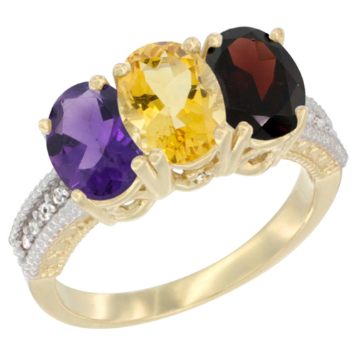 14K Yellow Gold Natural Amethyst, Citrine & Garnet Ring 3-Stone 7x5 mm Oval Diamond Accent, sizes 5 - 10