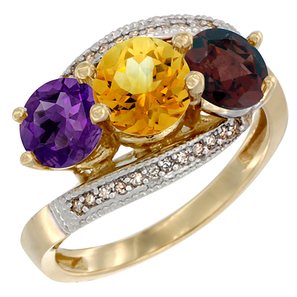 14K Yellow Gold Natural Amethyst, Citrine & Garnet 3 stone Ring Round 6mm Diamond Accent, sizes 5 - 10