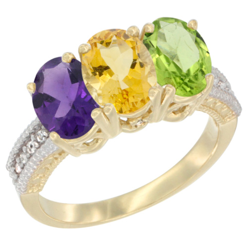 10K Yellow Gold Diamond Natural Amethyst, Citrine & Peridot Ring Oval 3-Stone 7x5 mm,sizes 5-10