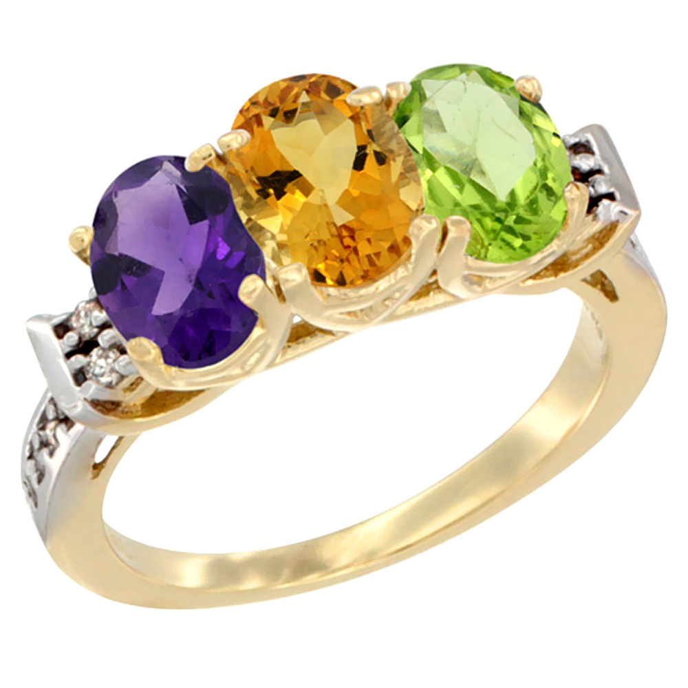 10K Yellow Gold Natural Amethyst, Citrine & Peridot Ring 3-Stone Oval 7x5 mm Diamond Accent, sizes 5 - 10