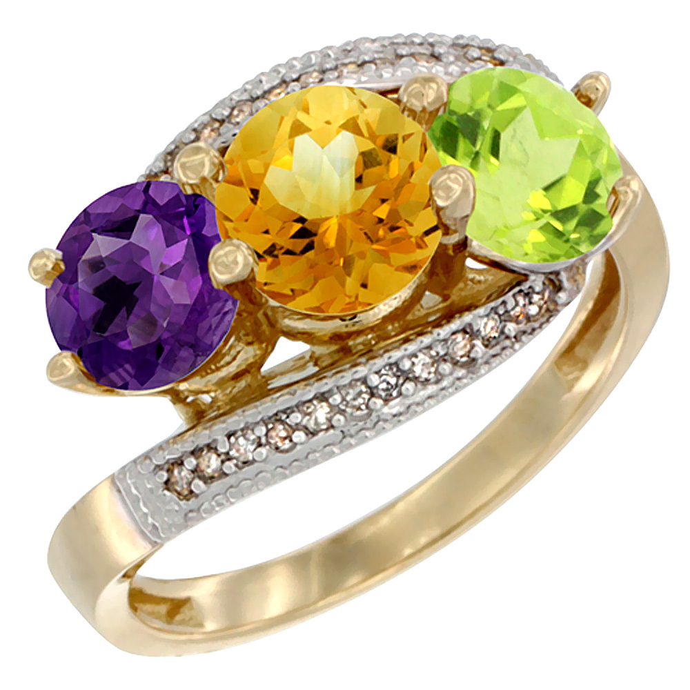 14K Yellow Gold Natural Amethyst, Citrine & Peridot 3 stone Ring Round 6mm Diamond Accent, sizes 5 - 10