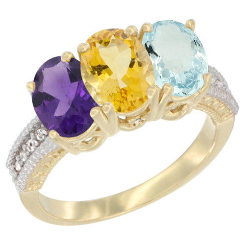 10K Yellow Gold Diamond Natural Amethyst, Citrine & Aquamarine Ring Oval 3-Stone 7x5 mm,sizes 5-10