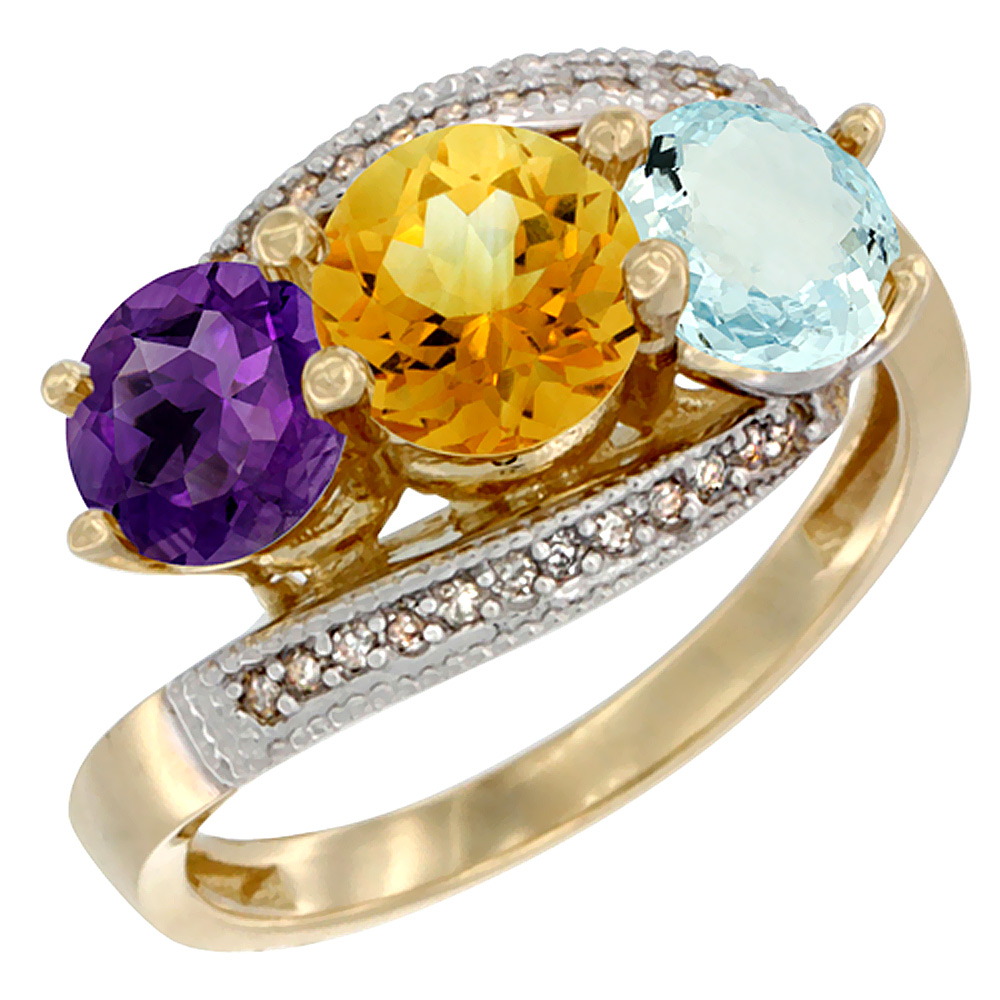 10K Yellow Gold Natural Amethyst, Citrine & Aquamarine 3 stone Ring Round 6mm Diamond Accent, sizes 5 - 10