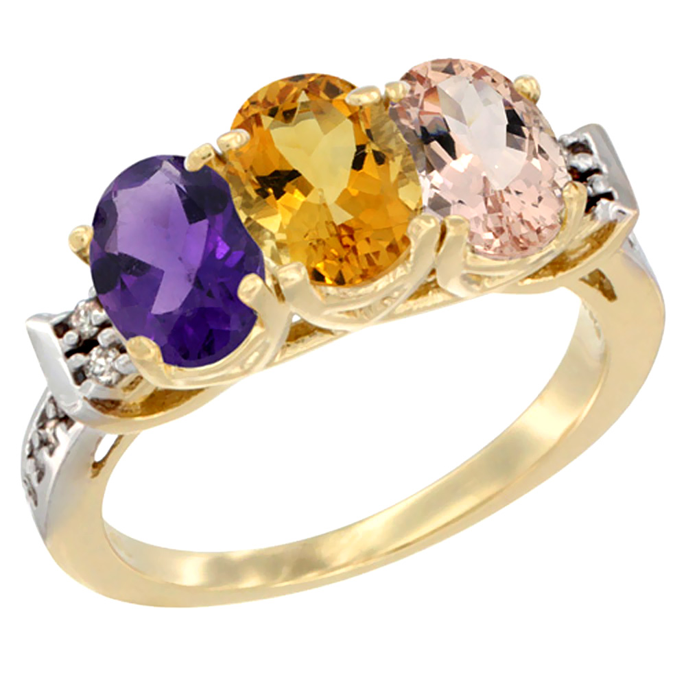 10K Yellow Gold Natural Amethyst, Citrine & Morganite Ring 3-Stone Oval 7x5 mm Diamond Accent, sizes 5 - 10