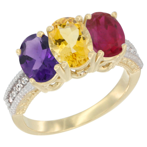 10K Yellow Gold Diamond Natural Amethyst, Citrine & Enhanced Ruby Ring Oval 3-Stone 7x5 mm,sizes 5-10