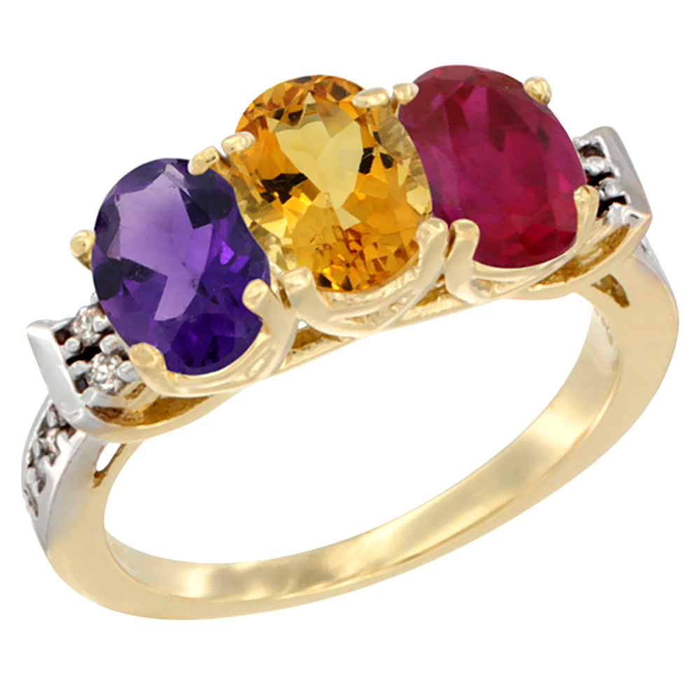 14K Yellow Gold Natural Amethyst, Citrine & Enhanced Ruby Ring 3-Stone 7x5 mm Oval Diamond Accent, sizes 5 - 10