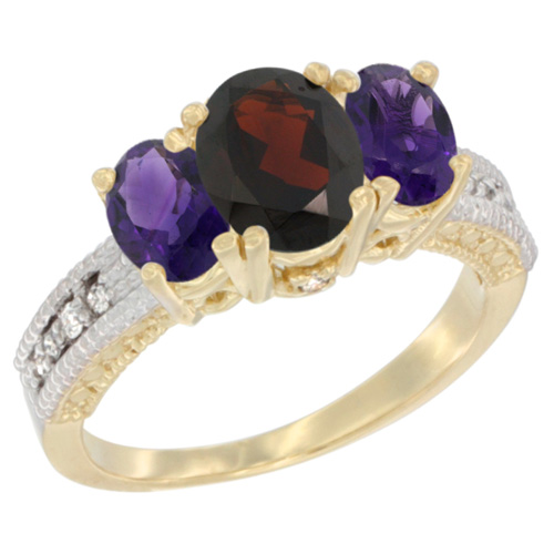 10K Yellow Gold Diamond Natural Garnet Ring Oval 3-stone with Amethyst, sizes 5 - 10
