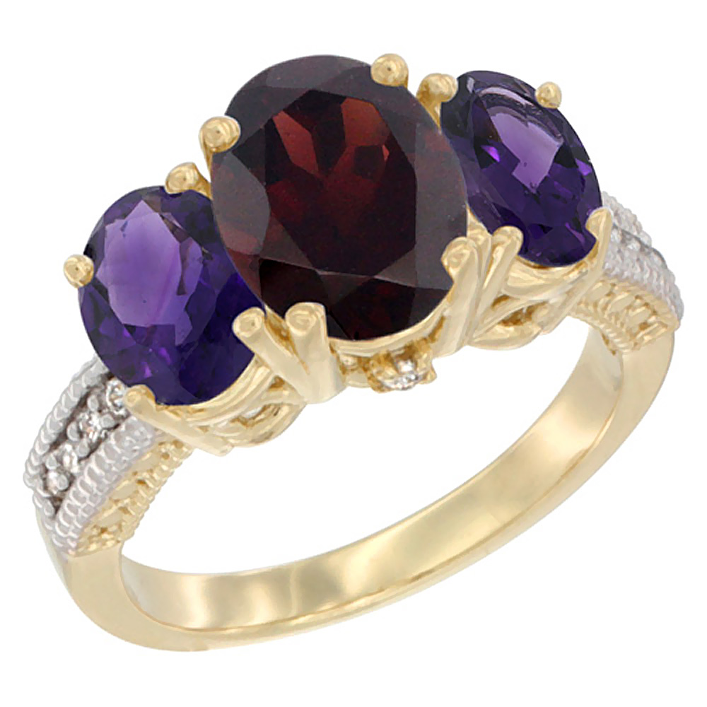 10K Yellow Gold Natural Garnet Ring Ladies 3-Stone 8x6 Oval with Amethyst Sides Diamond Accent, sizes 5 - 10