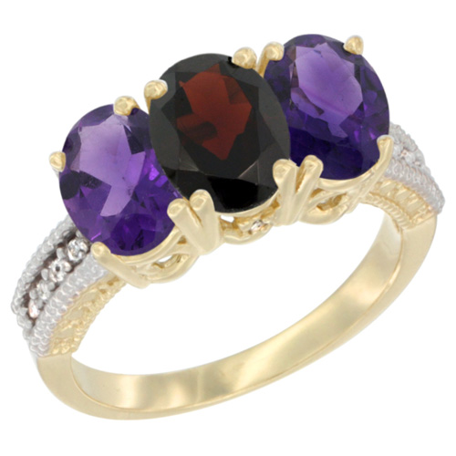 10K Yellow Gold Diamond Natural Garnet & Amethyst Ring Oval 3-Stone 7x5 mm,sizes 5-10