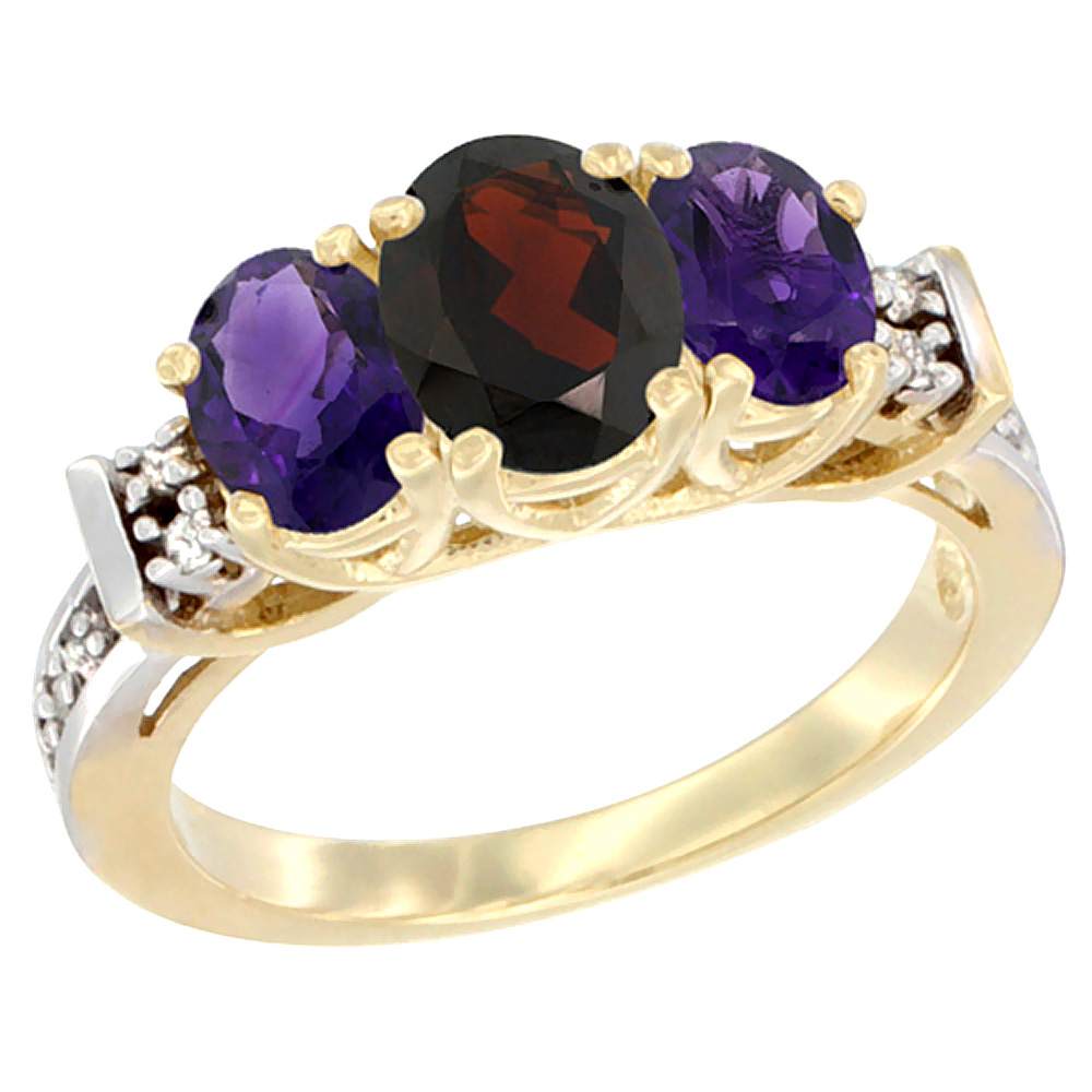 14K Yellow Gold Natural Garnet & Amethyst Ring 3-Stone Oval Diamond Accent