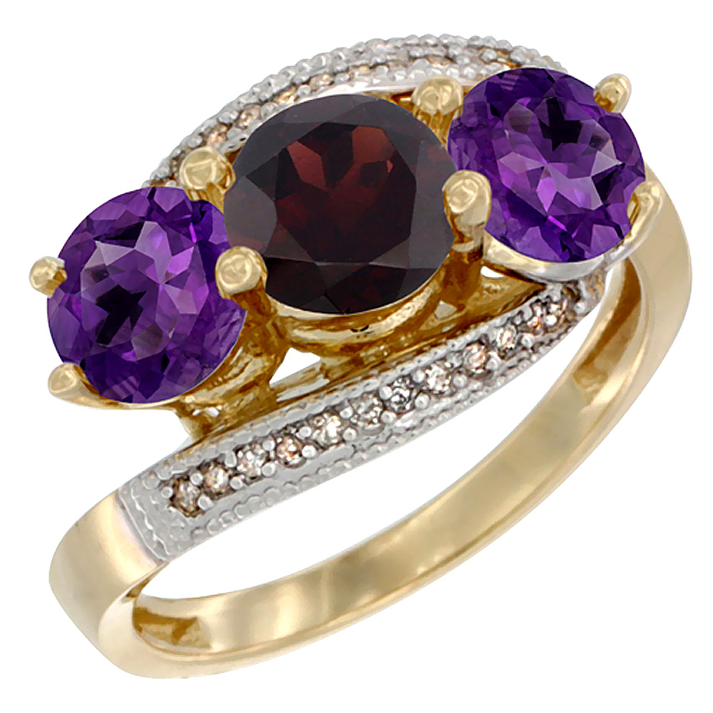 10K Yellow Gold Natural Garnet & Amethyst Sides 3 stone Ring Round 6mm Diamond Accent, sizes 5 - 10