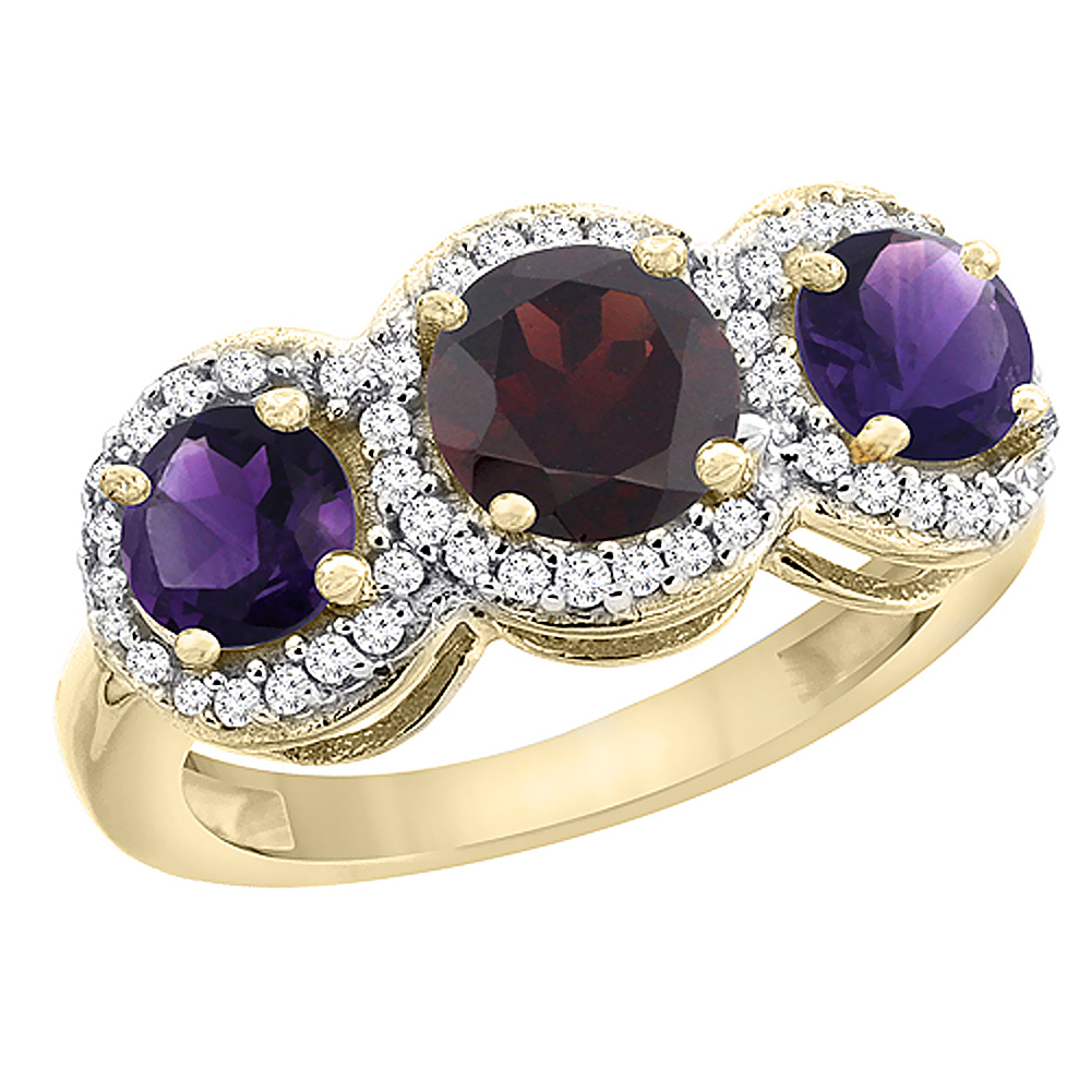 10K Yellow Gold Natural Garnet & Amethyst Sides Round 3-stone Ring Diamond Accents, sizes 5 - 10