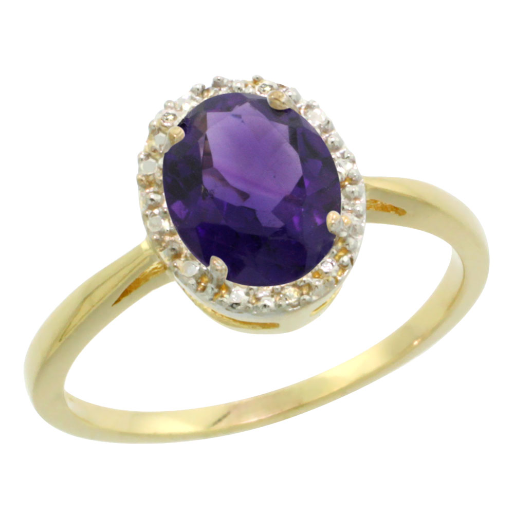 14K Yellow Gold Natural Amethyst Diamond Halo Ring Oval 8X6mm, sizes 5-10