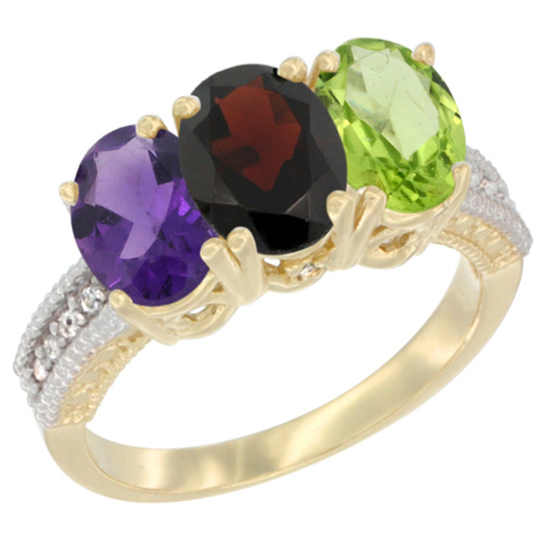 14K Yellow Gold Natural Amethyst, Garnet & Peridot Ring 3-Stone 7x5 mm Oval Diamond Accent, sizes 5 - 10