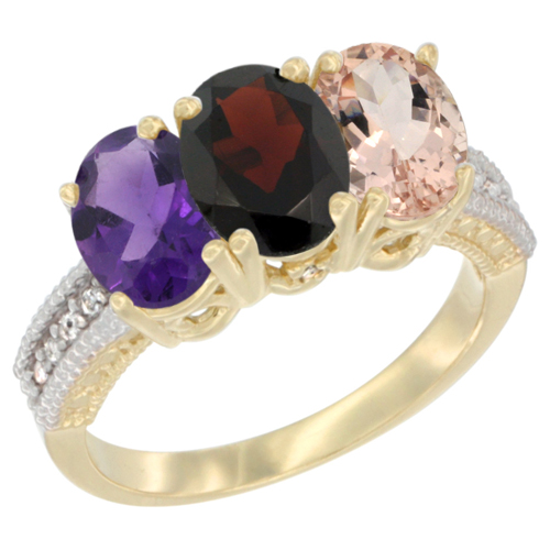 14K Yellow Gold Natural Amethyst, Garnet & Morganite Ring 3-Stone 7x5 mm Oval Diamond Accent, sizes 5 - 10