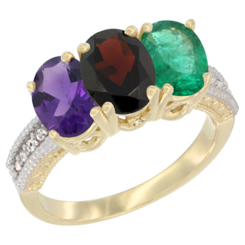 14K Yellow Gold Natural Amethyst, Garnet & Emerald Ring 3-Stone 7x5 mm Oval Diamond Accent, sizes 5 - 10