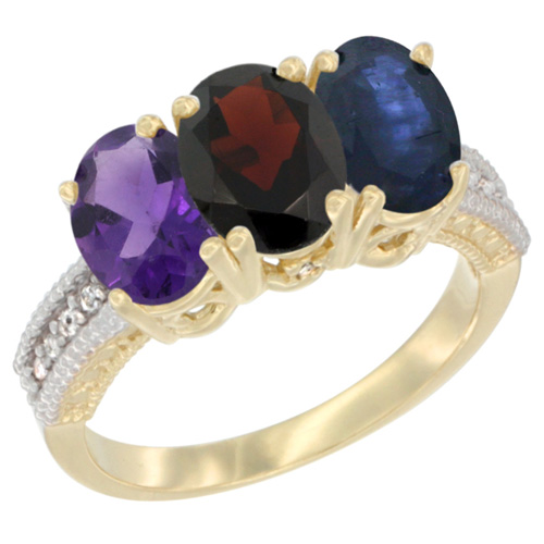 10K Yellow Gold Diamond Natural Amethyst, Garnet & Blue Sapphire Ring Oval 3-Stone 7x5 mm,sizes 5-10