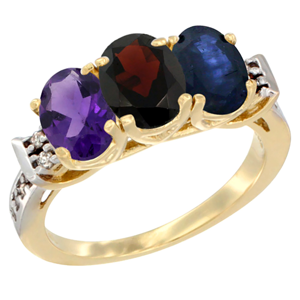 10K Yellow Gold Natural Amethyst, Garnet & Blue Sapphire Ring 3-Stone Oval 7x5 mm Diamond Accent, sizes 5 - 10