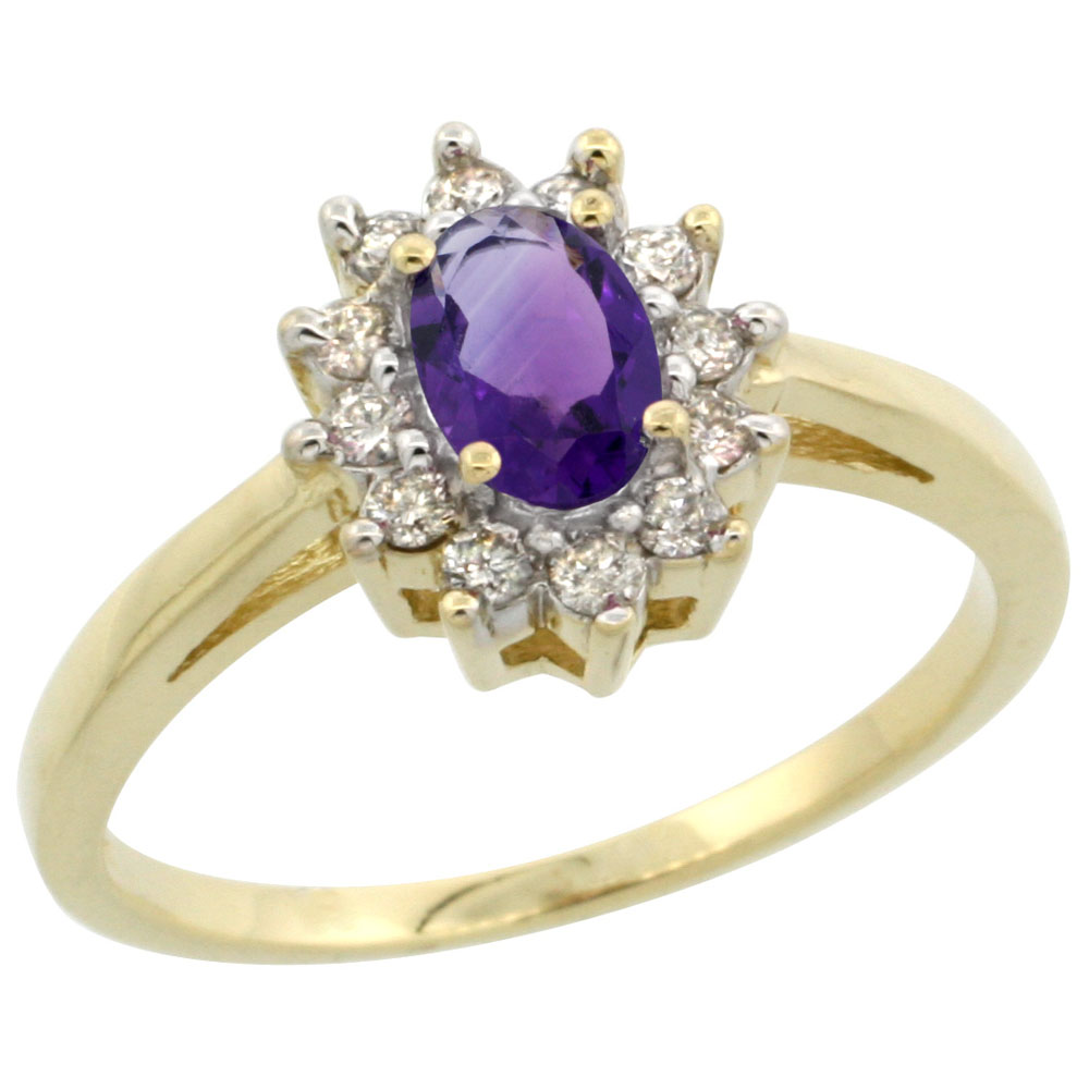 10K Yellow Gold Natural Amethyst Flower Diamond Halo Ring Oval 6x4 mm, sizes 5-10