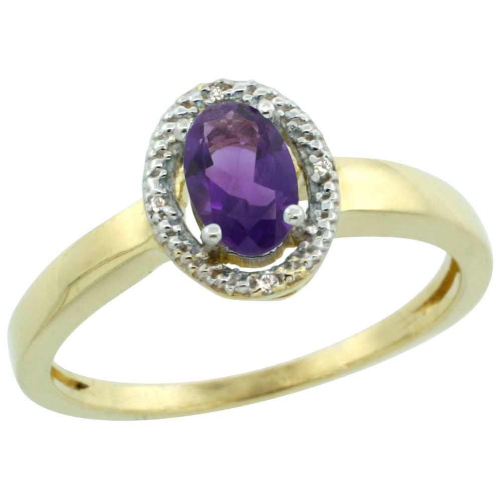 14K Yellow Gold Diamond Halo Natural Amethyst Engagement Ring Oval 6X4 mm, sizes 5-10