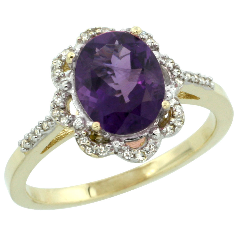 10K Yellow Gold Diamond Halo Natural Amethyst Engagement Ring Oval 9x7mm, sizes 5-10