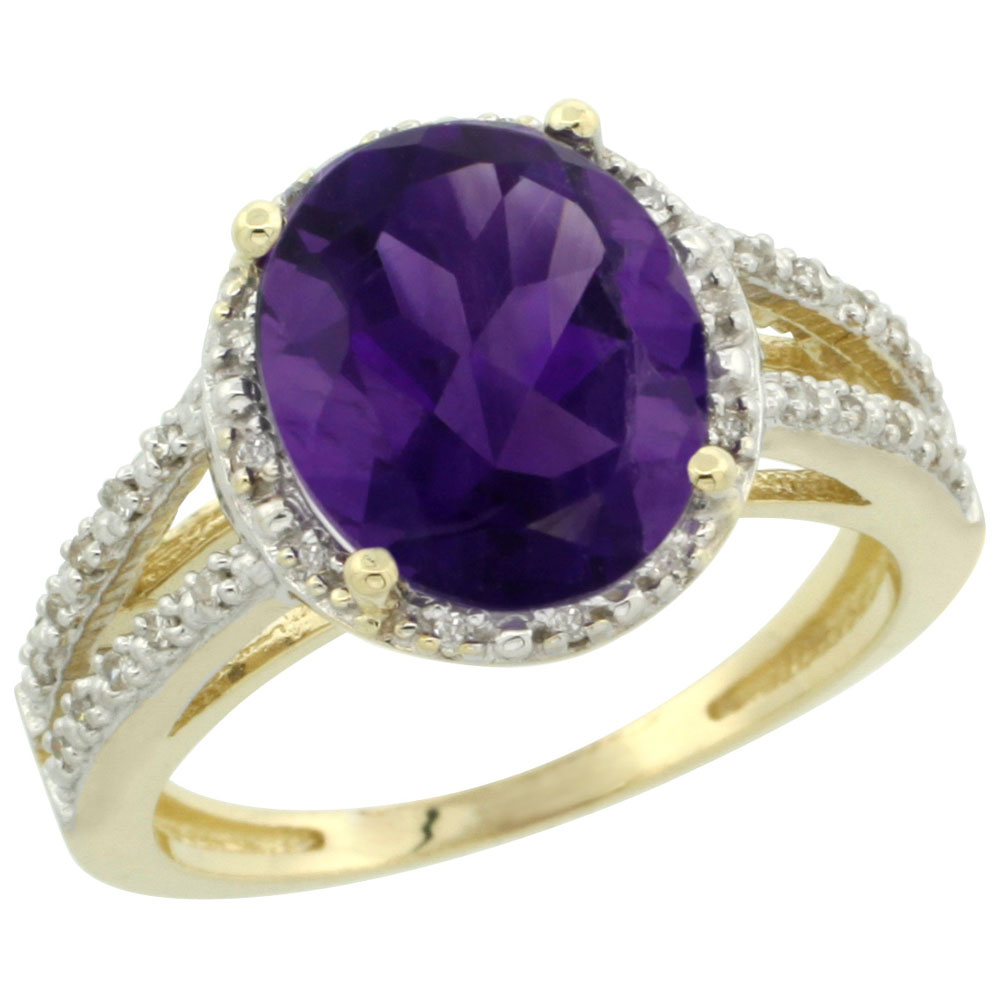 10K Yellow Gold Diamond Natural Amethyst Ring Oval 11x9mm, sizes 5-10