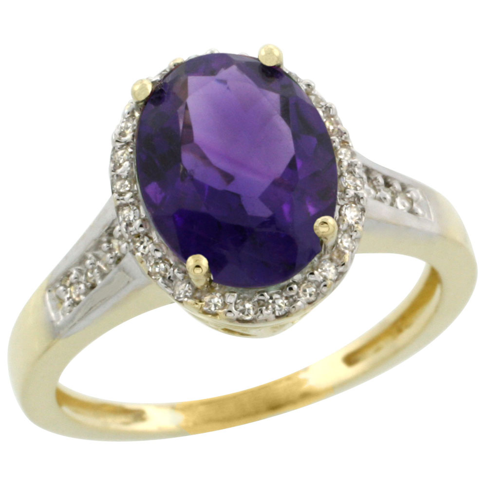 10K Yellow Gold Diamond Natural Amethyst Engagement Ring Oval 10x8mm, sizes 5-10