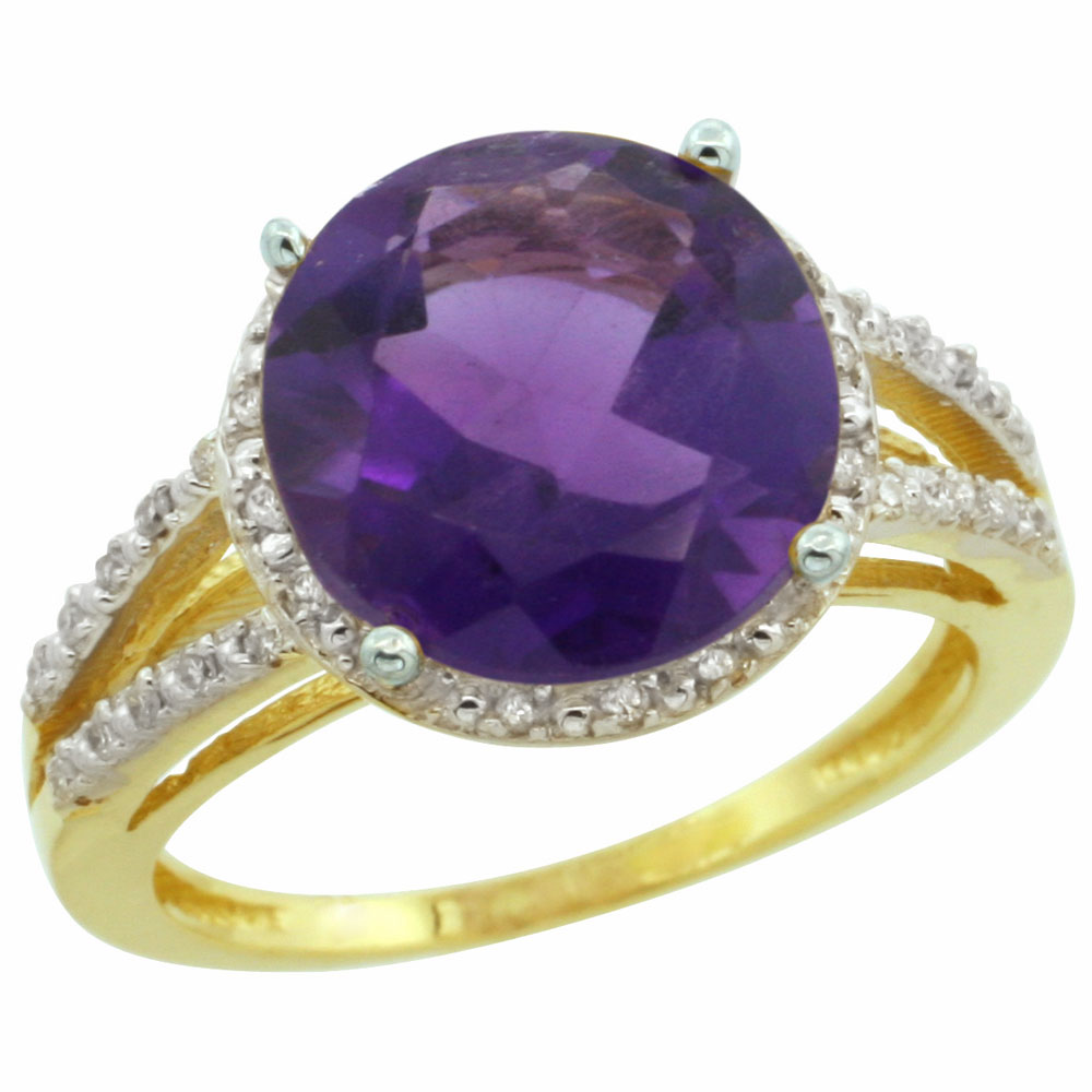 10K Yellow Gold Diamond Natural Amethyst Ring Round 11mm, sizes 5-10