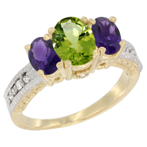 14K Yellow Gold Diamond Natural Peridot Ring Oval 3-stone with Amethyst, sizes 5 - 10
